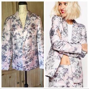NWT ASOS Pink Grey Floral Blazer Sz 10